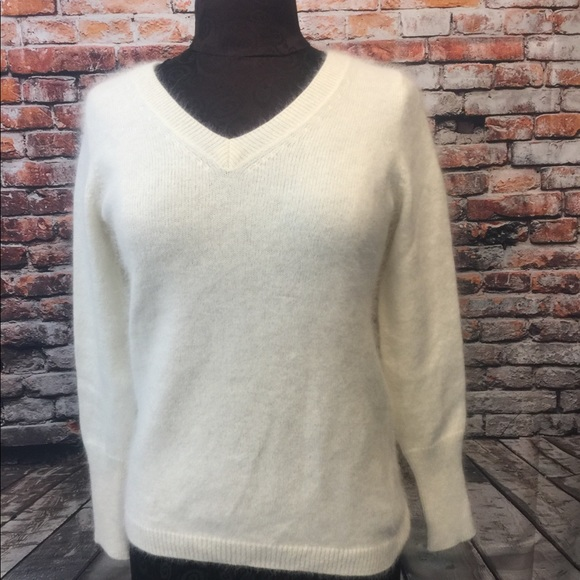 Cream Banana Republic rabbit hair sweater